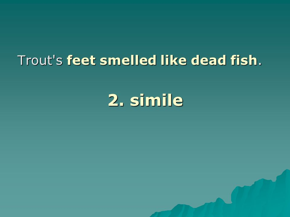 Trout's feet smelled like dead fish. 2. simile
