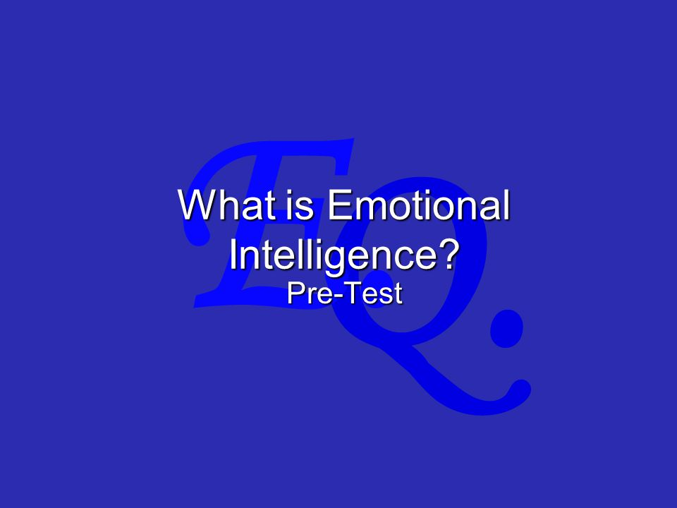 Q. E. What is Emotional Intelligence Pre-Test