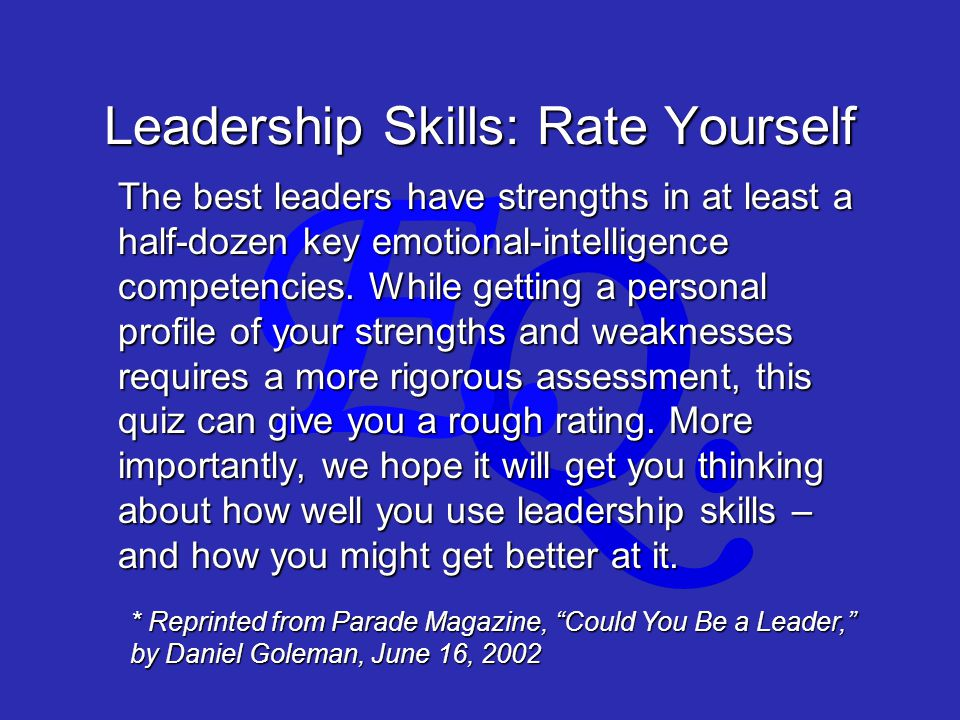 Q. E. Leadership Skills: Rate Yourself The best leaders have strengths in at least a half-dozen key emotional-intelligence competencies. While getting
