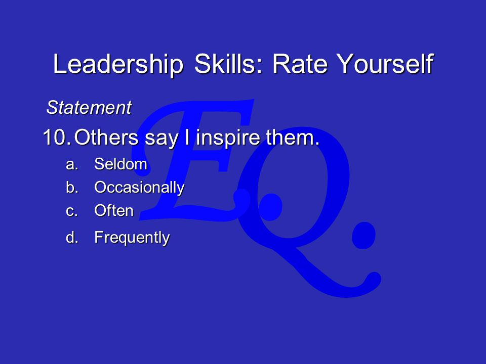 Q. E. Leadership Skills: Rate Yourself 10.Others say I inspire them.