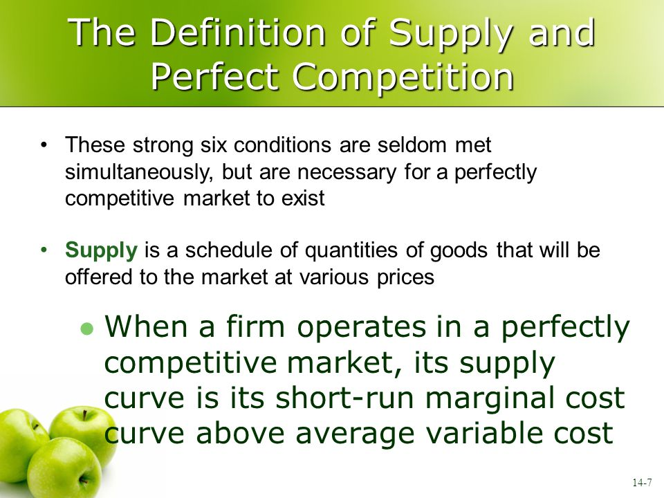The Definition of Supply and Perfect Competition When a firm operates in a perfectly competitive market, its supply curve is its short-run marginal co