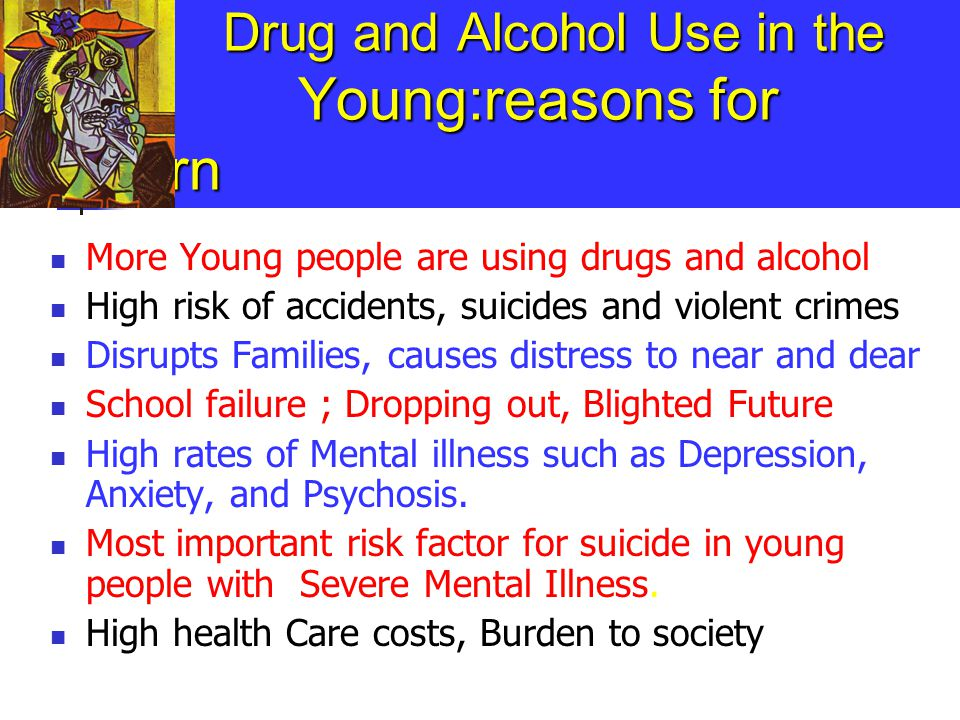 At risk or Prodromal Stage Primary motive: Coping with painful, traumatic issues in life, or negative emotions, or simply getting a high Setting: usually private Active drug seeking behaviour Frequent use Relationships strained, school work suffer Seldom seek help (suffer in silence) Many young people attending our services are at this stage