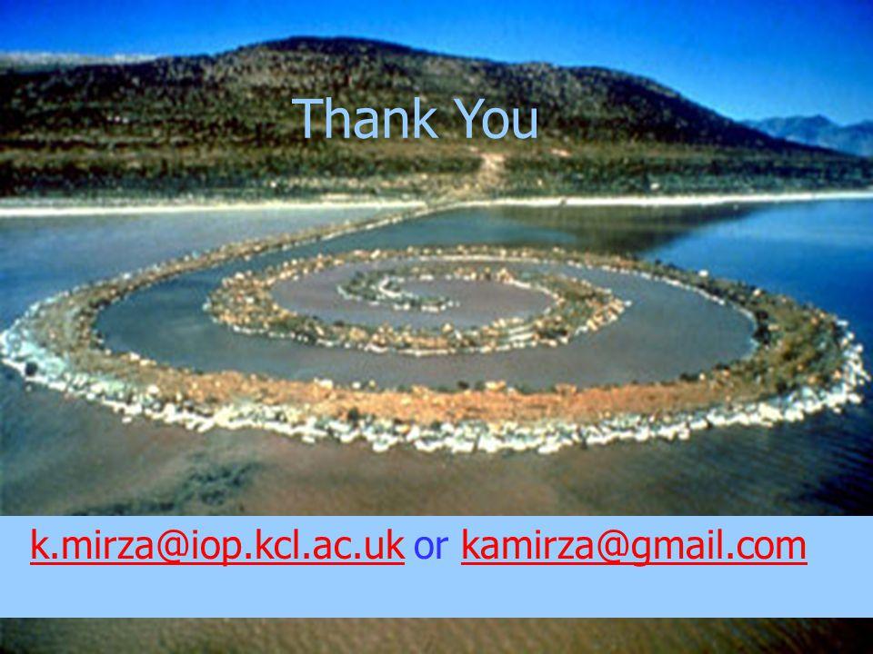 k.mirza@iop.kcl.ac.uk or kamirza@gmail.com k.mirza@iop.kcl.ac.ukkamirza@gmail.com Thank You