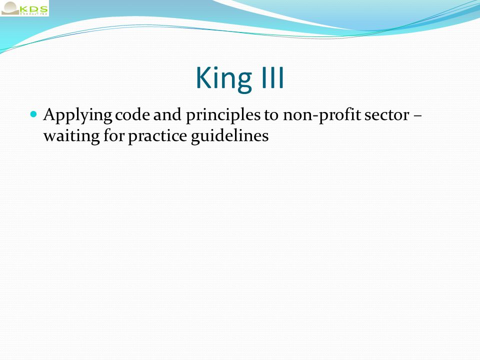 Issued in terms of Nonprofit Organisations Act 71/1997 Governing Body Staff Leadership Financial management Accountability and transparency Ethical and responsible behaviour