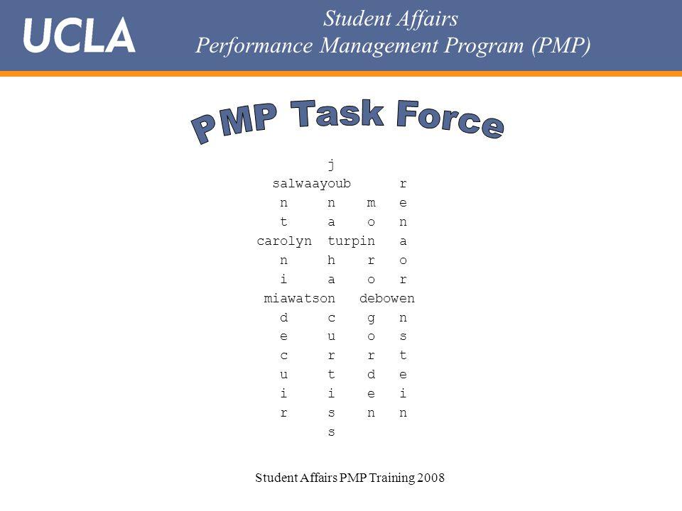 Student Affairs Performance Management Program (PMP) Student Affairs PMP Training 2008 j salwaayoub r n n m e t a o n carolyn turpin a n h r o i a o r miawatson debowen d c g n e u o s c r r t u t d e i i e i r s n n s