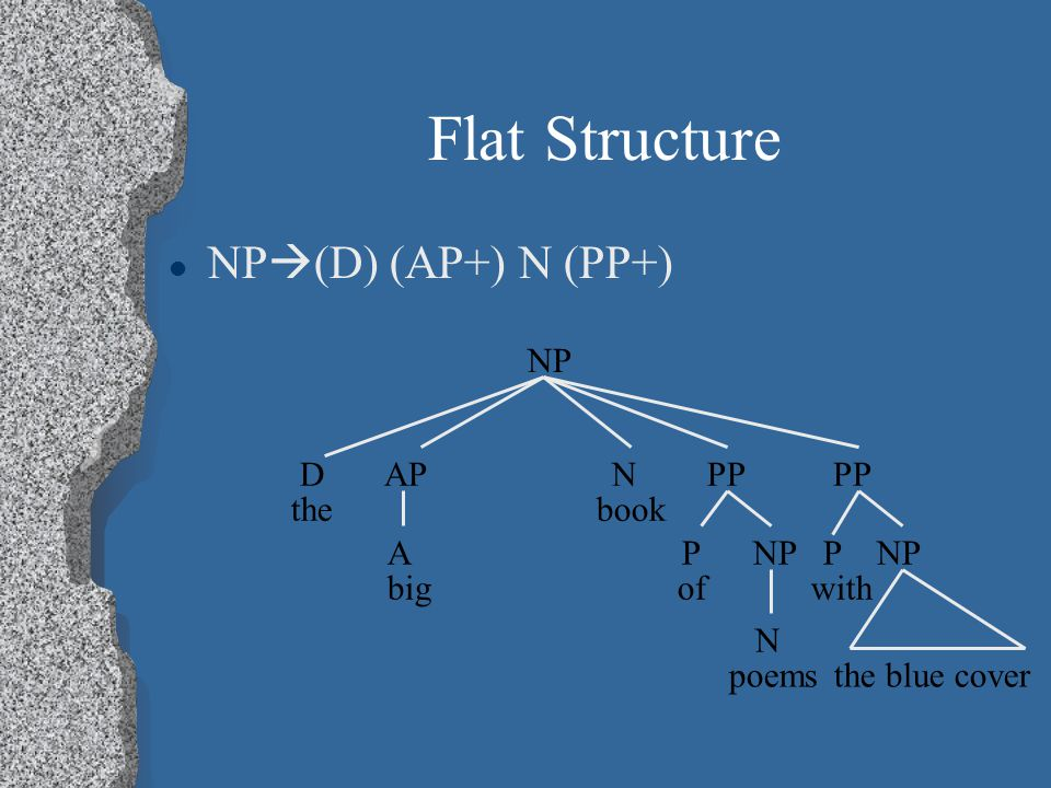 Flat Structure NP  (D) (AP+) N (PP+) the blue cover NP D AP N PP PP the book A P NP P NP big of with N poems