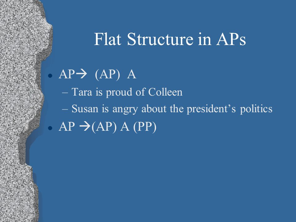 Flat Structure in APs AP  (AP) A –Tara is proud of Colleen –Susan is angry about the president's politics AP  (AP) A (PP)