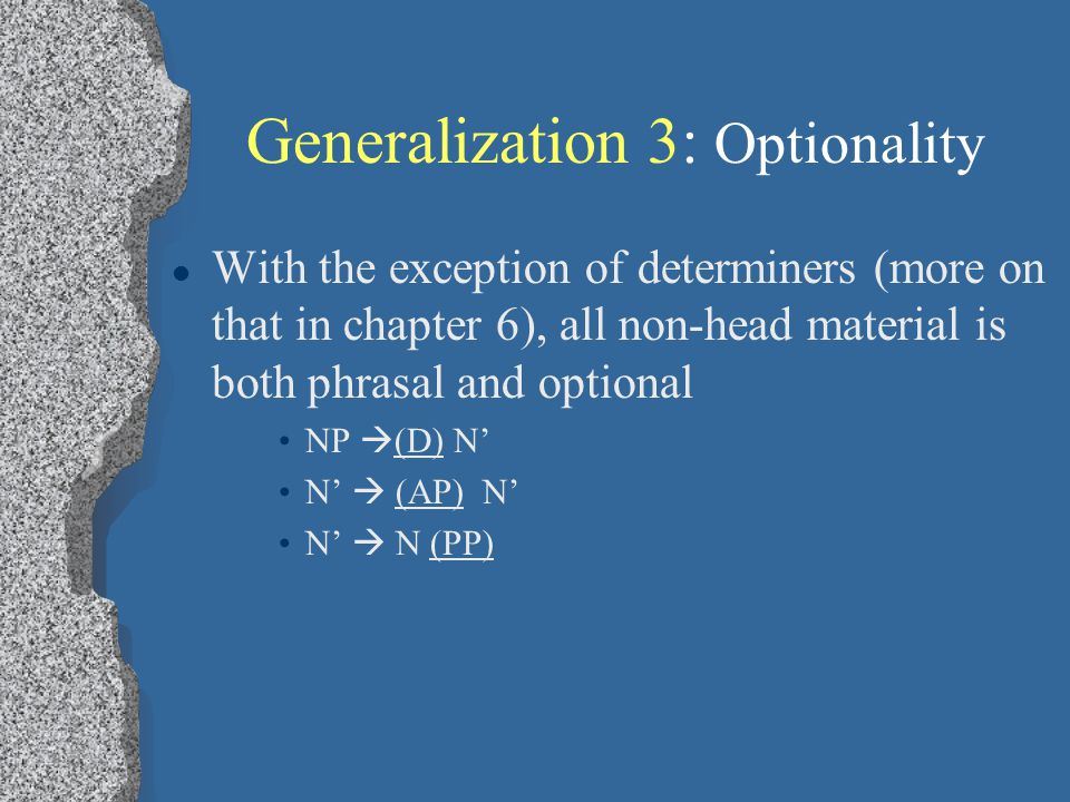 Generalization 3: Optionality With the exception of determiners (more on that in chapter 6), all non-head material is both phrasal and optional NP  (