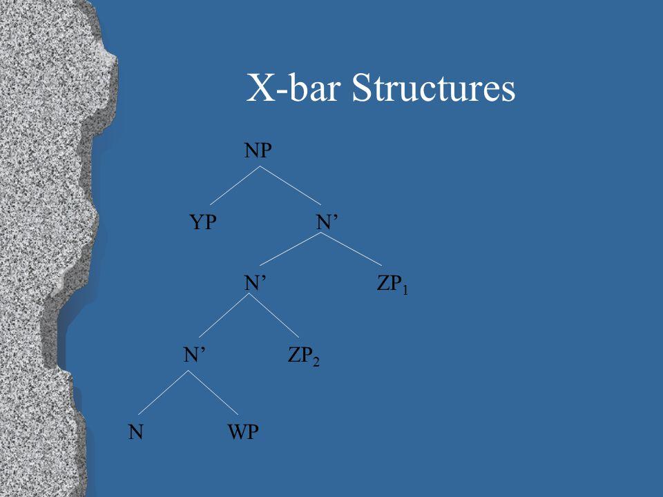 X-bar Structures NP N' N'ZP 1 N' ZP 2 YP N WP