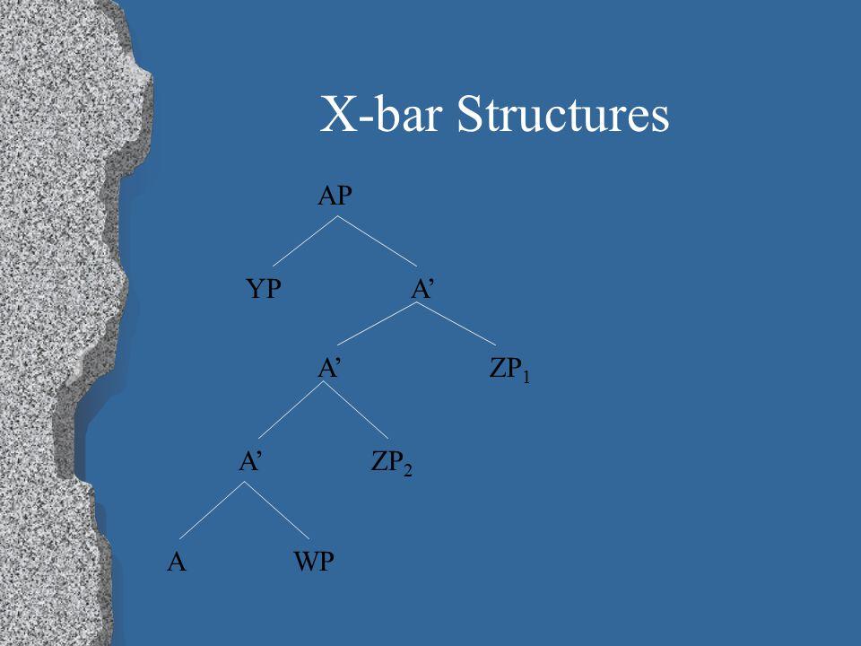 X-bar Structures AP A' A'ZP 1 A' ZP 2 YP A WP