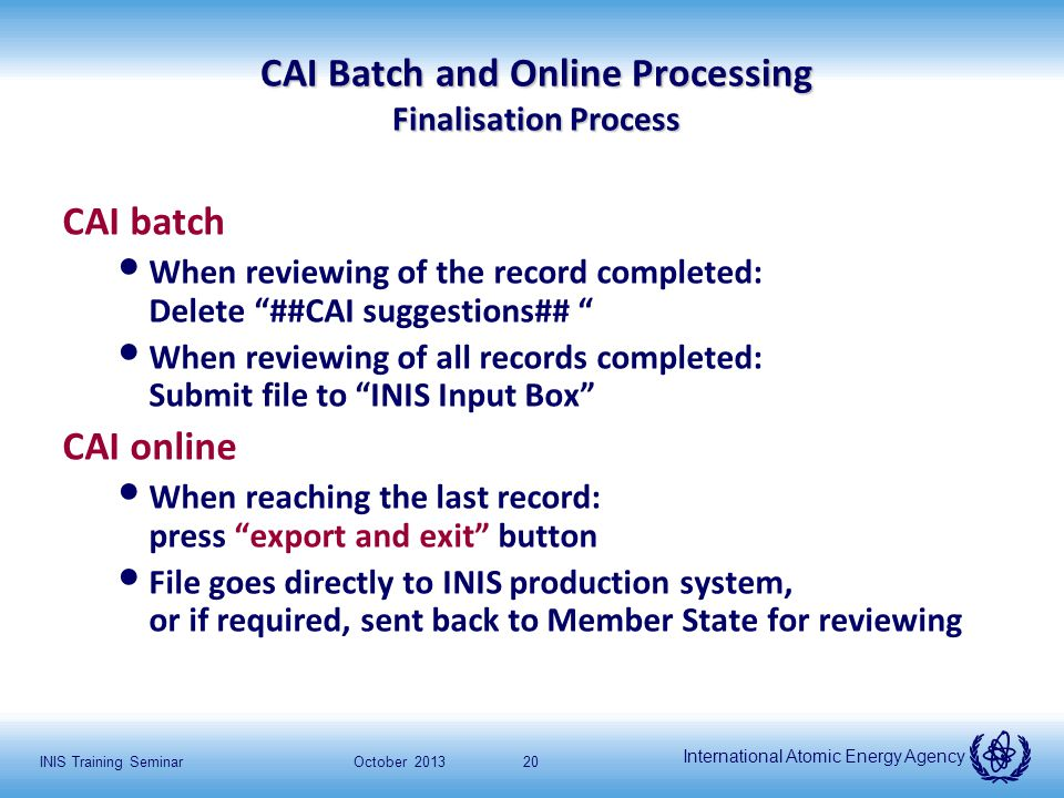 International Atomic Energy Agency October 2013INIS Training Seminar20 CAI Batch and Online Processing Finalisation Process CAI batch When reviewing o