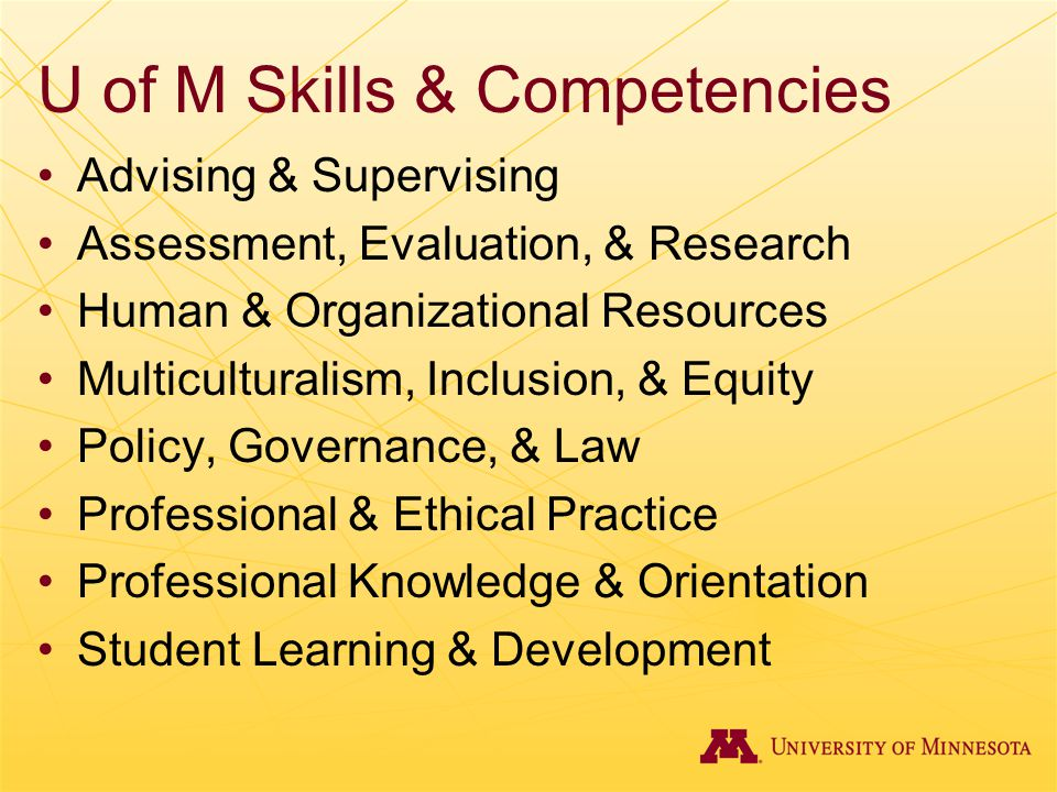 U of M Skills & Competencies Advising & Supervising Assessment, Evaluation, & Research Human & Organizational Resources Multiculturalism, Inclusion, &