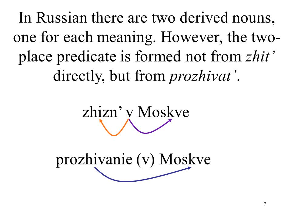 7 In Russian there are two derived nouns, one for each meaning.