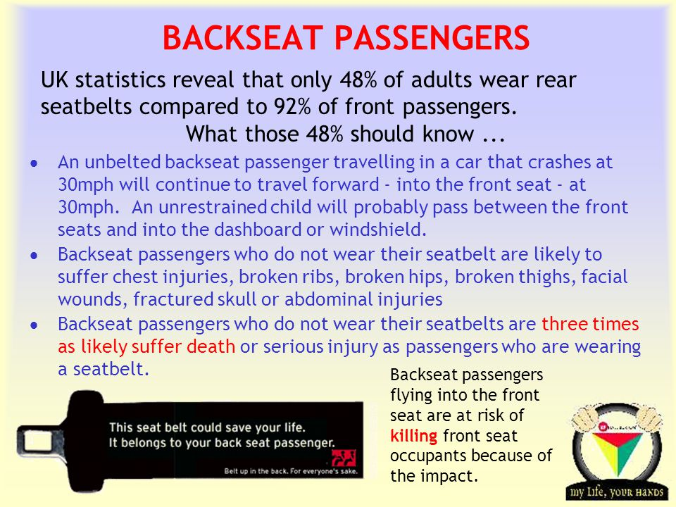 Transportation Tuesday BACKSEAT PASSENGERS  An unbelted backseat passenger travelling in a car that crashes at 30mph will continue to travel forward - into the front seat - at 30mph.