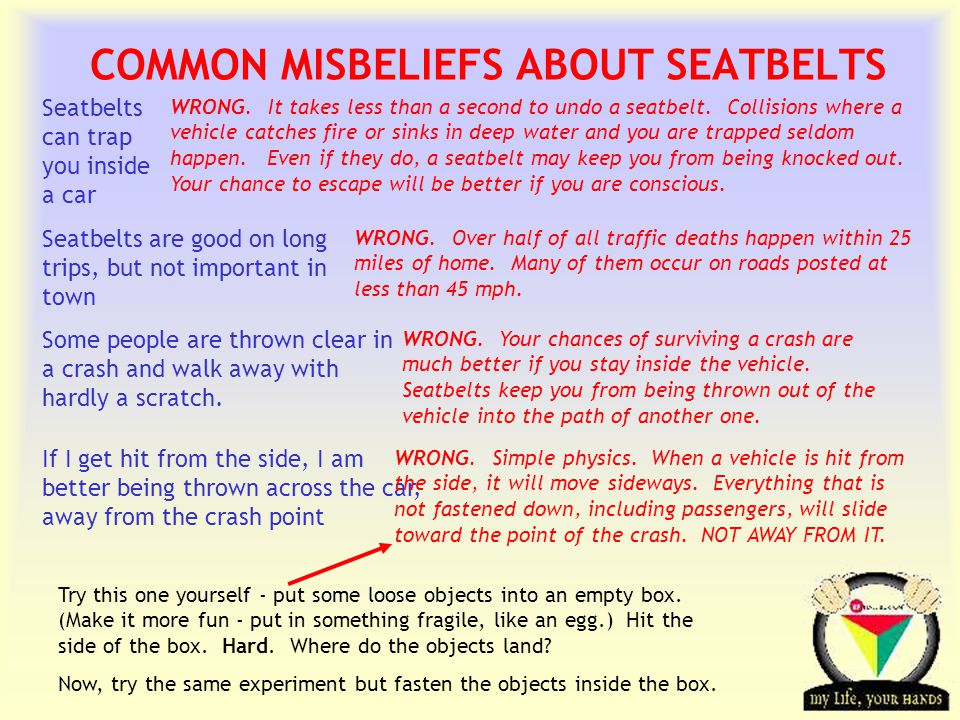Transportation Tuesday COMMON MISBELIEFS ABOUT SEATBELTS Seatbelts can trap you inside a car WRONG.