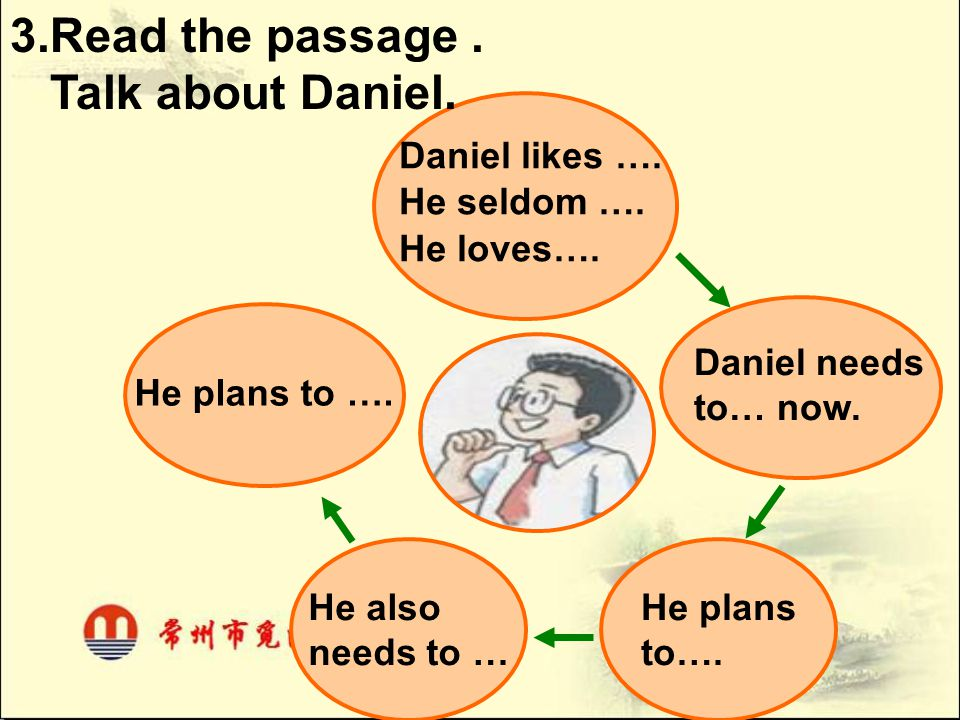 Daniel needs to… now. He plans to…. He also needs to … He plans to …. Daniel likes …. He seldom …. He loves…. 3.Read the passage. Talk about Daniel.