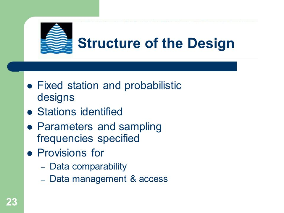 23 Fixed station and probabilistic designs Stations identified Parameters and sampling frequencies specified Provisions for – Data comparability – Data management & access Structure of the Design