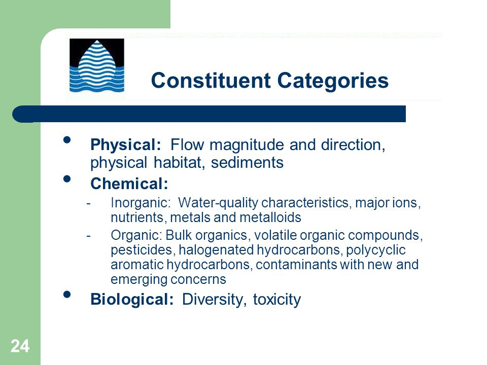 24 Physical: Flow magnitude and direction, physical habitat, sediments Chemical: -Inorganic: Water-quality characteristics, major ions, nutrients, metals and metalloids -Organic: Bulk organics, volatile organic compounds, pesticides, halogenated hydrocarbons, polycyclic aromatic hydrocarbons, contaminants with new and emerging concerns Biological: Diversity, toxicity Constituent Categories