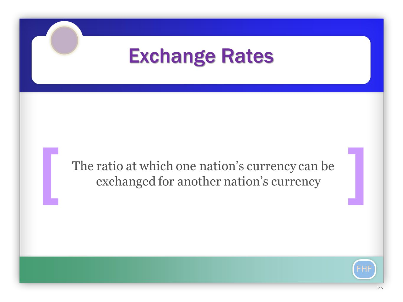 FHF Exchange Rates The ratio at which one nation's currency can be exchanged for another nation's currency [] 3-15