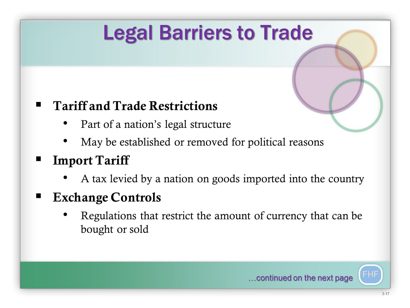 FHF Legal Barriers to Trade Legal Barriers to Trade  Tariff and Trade Restrictions Part of a nation's legal structure May be established or removed for political reasons  Import Tariff A tax levied by a nation on goods imported into the country  Exchange Controls Regulations that restrict the amount of currency that can be bought or sold …continued on the next page 3-17