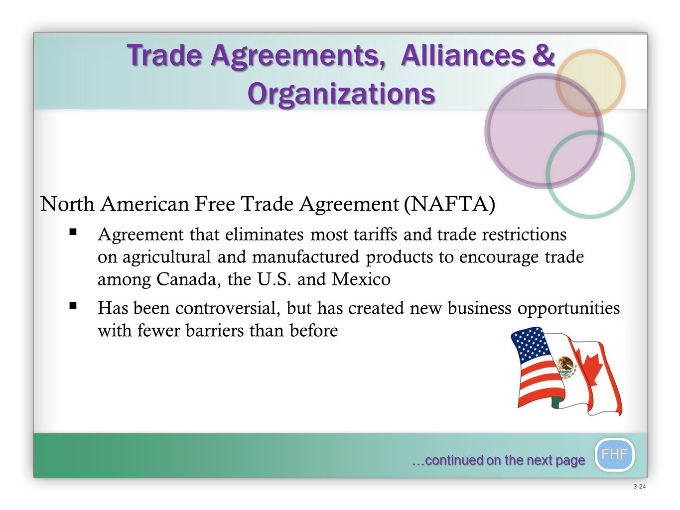 FHF North American Free Trade Agreement (NAFTA)  Agreement that eliminates most tariffs and trade restrictions on agricultural and manufactured products to encourage trade among Canada, the U.S.