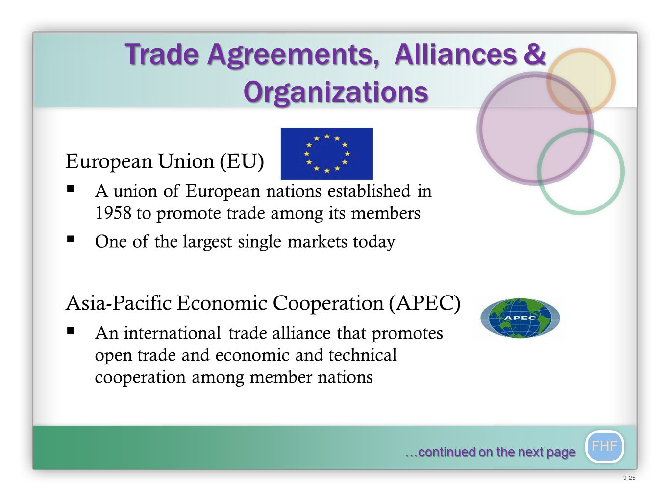 FHF Trade Agreements, Alliances & Organizations European Union (EU)  A union of European nations established in 1958 to promote trade among its members  One of the largest single markets today Asia-Pacific Economic Cooperation (APEC)  An international trade alliance that promotes open trade and economic and technical cooperation among member nations …continued on the next page 3-25
