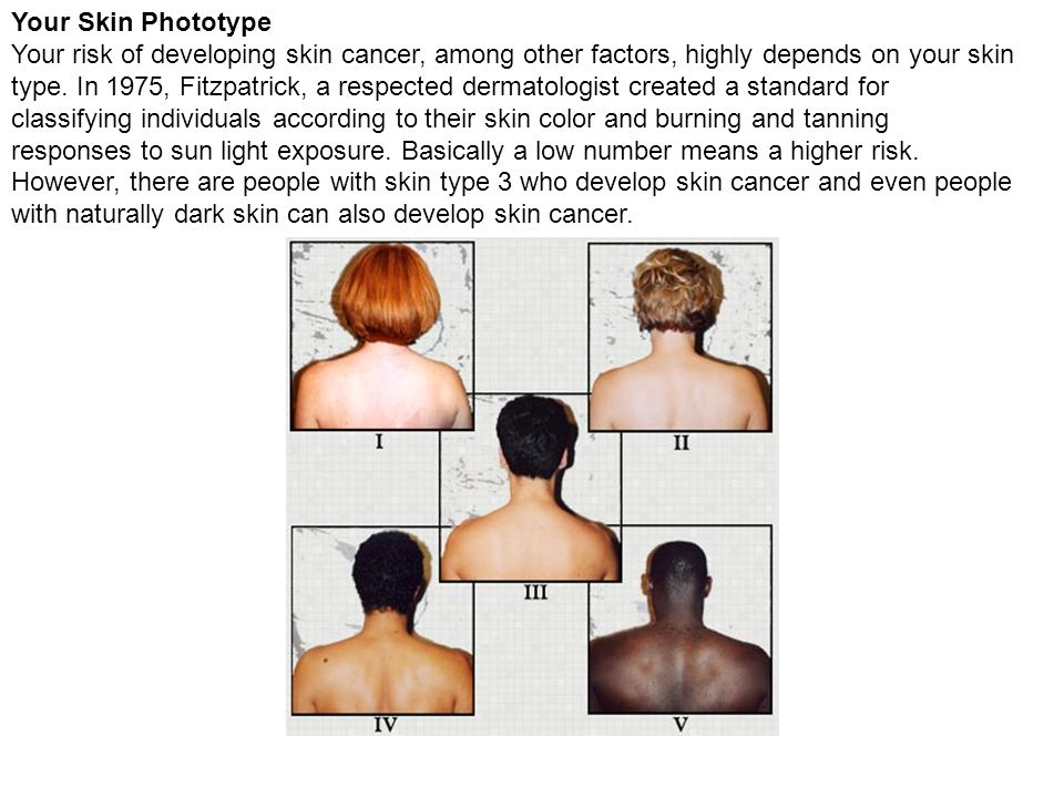 Your Skin Phototype Your risk of developing skin cancer, among other factors, highly depends on your skin type.