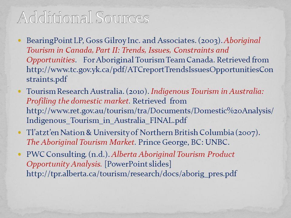 BearingPoint LP, Goss Gilroy Inc.and Associates. (2003).