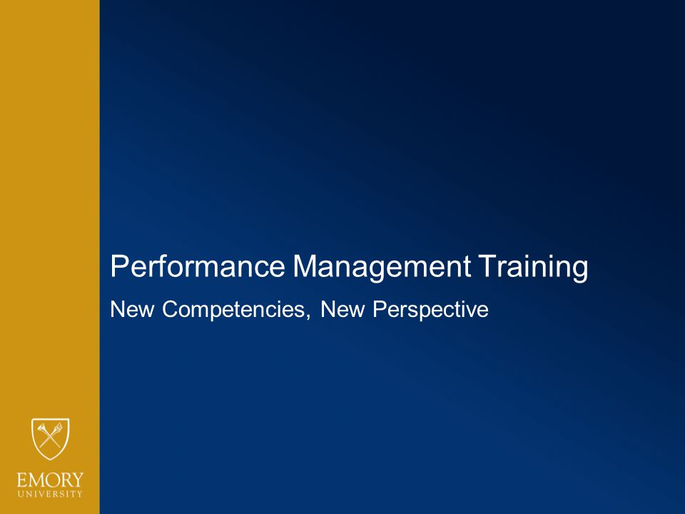 Performance Management Training New Competencies, New Perspective