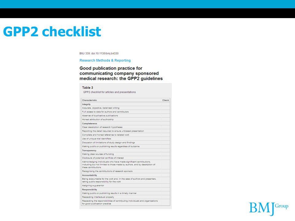 GPP2 checklist