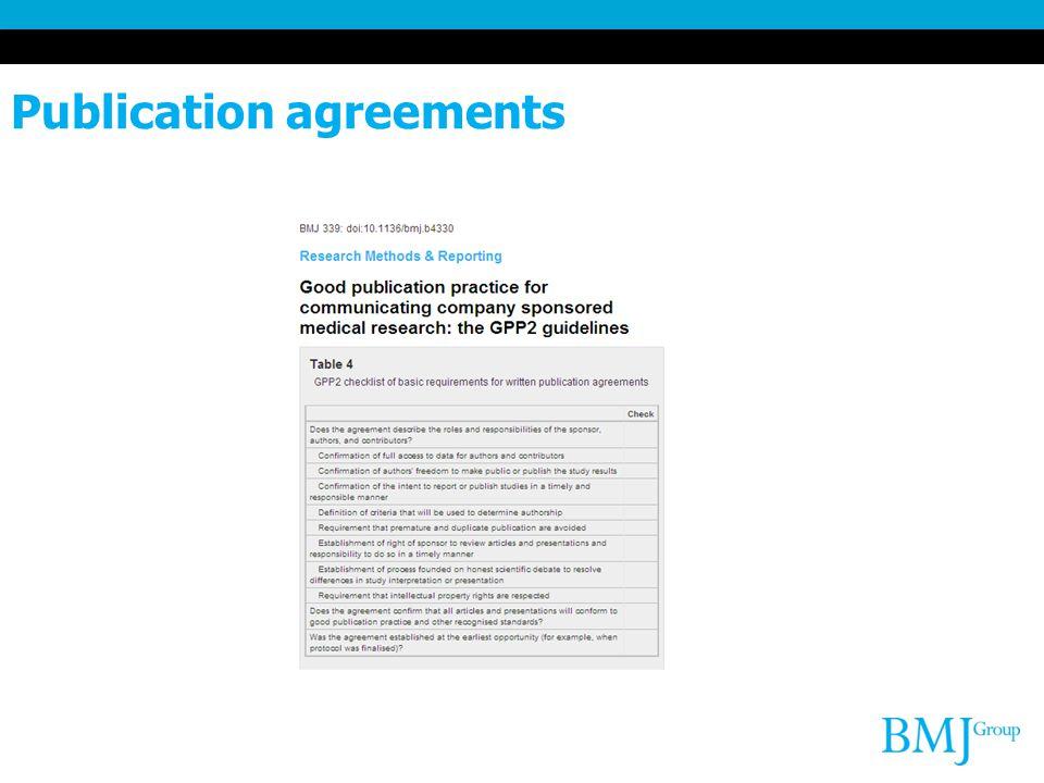 Publication agreements