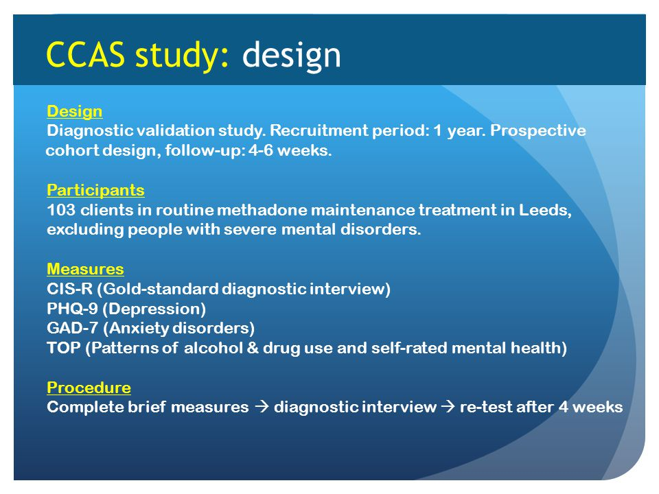 CCAS study: design Design Diagnostic validation study.