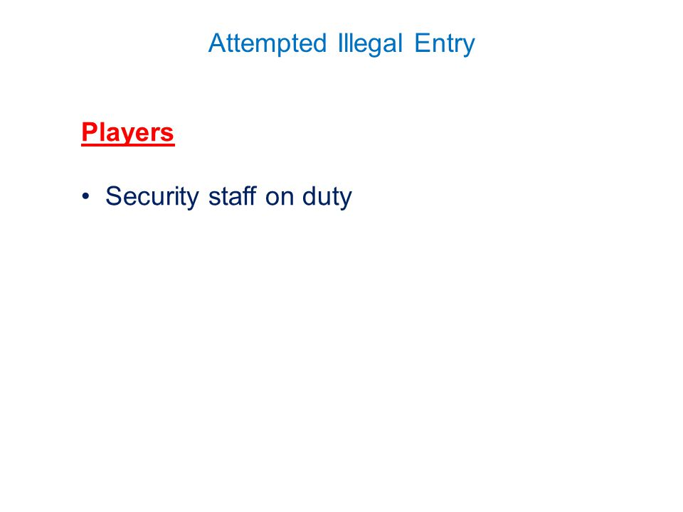 Attempted Illegal Entry Players Security staff on duty