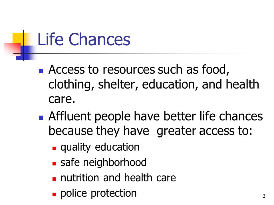 3 Life Chances Access to resources such as food, clothing, shelter, education, and health care. Affluent people have better life chances because they
