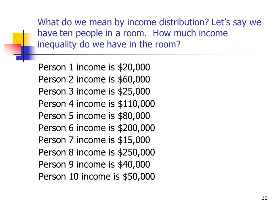30 What do we mean by income distribution? Let's say we have ten people in a room. How much income inequality do we have in the room? Person 1 income
