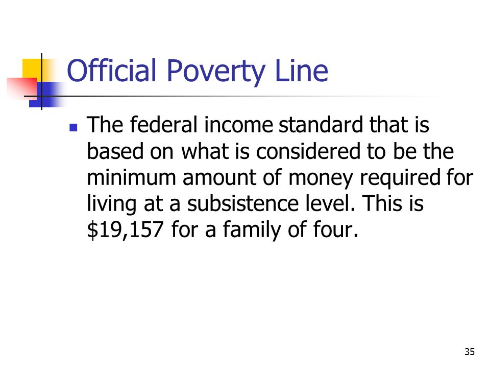 35 Official Poverty Line The federal income standard that is based on what is considered to be the minimum amount of money required for living at a su