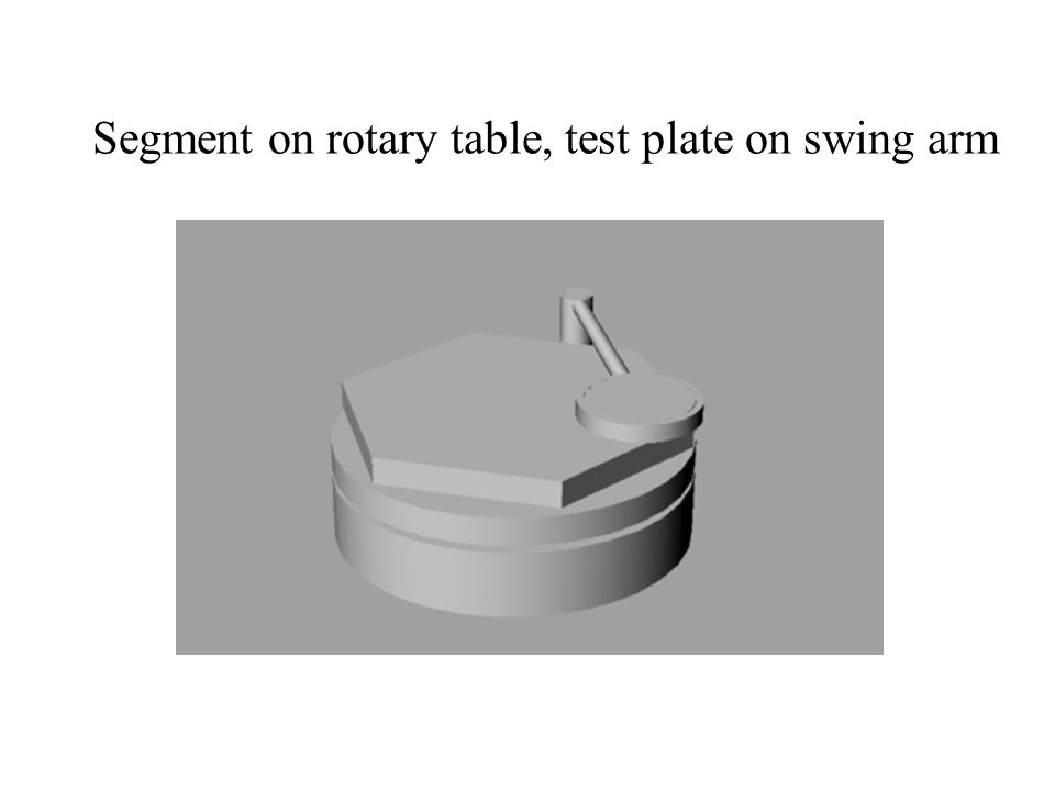 Segment on rotary table, test plate on swing arm