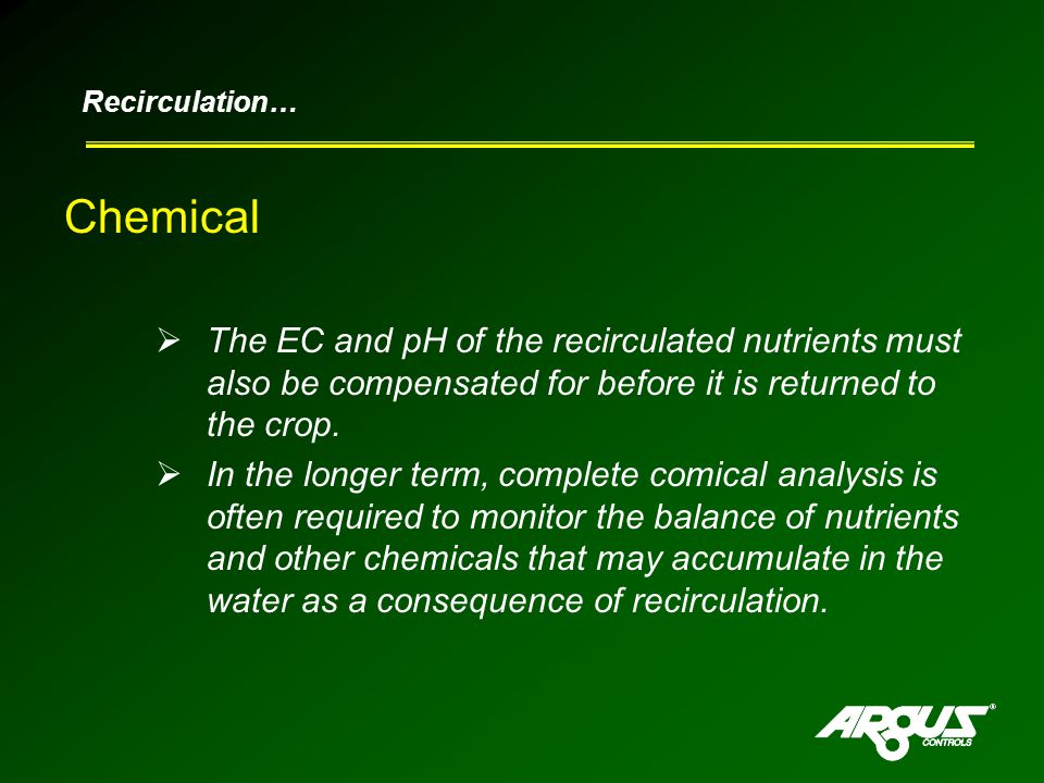 Chemical  The EC and pH of the recirculated nutrients must also be compensated for before it is returned to the crop.