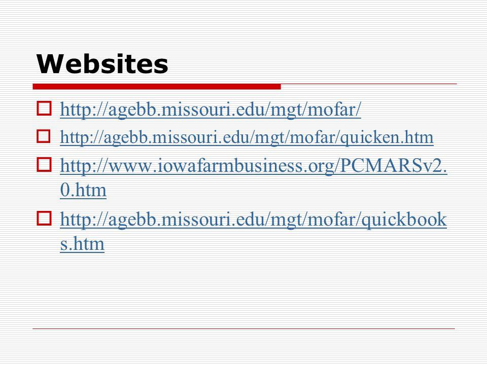 Websites  http://agebb.missouri.edu/mgt/mofar/ http://agebb.missouri.edu/mgt/mofar/  http://agebb.missouri.edu/mgt/mofar/quicken.htm http://agebb.missouri.edu/mgt/mofar/quicken.htm  http://www.iowafarmbusiness.org/PCMARSv2.