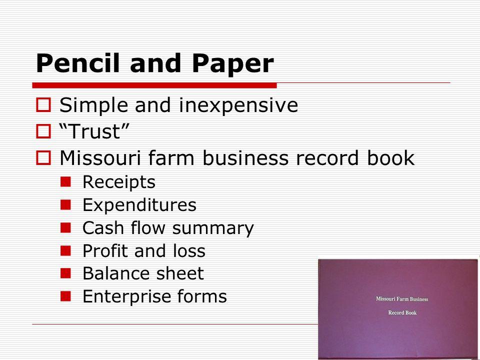 Pencil and Paper  Missouri farm tax record Income and expenses Depreciation schedule