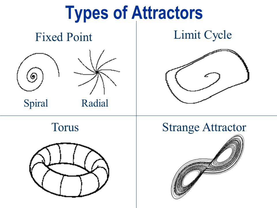 Types of Attractors Fixed Point Limit Cycle TorusStrange Attractor SpiralRadial