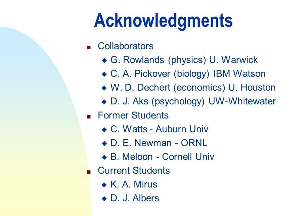 Acknowledgments n Collaborators u G. Rowlands (physics) U. Warwick u C. A. Pickover (biology) IBM Watson u W. D. Dechert (economics) U. Houston u D. J