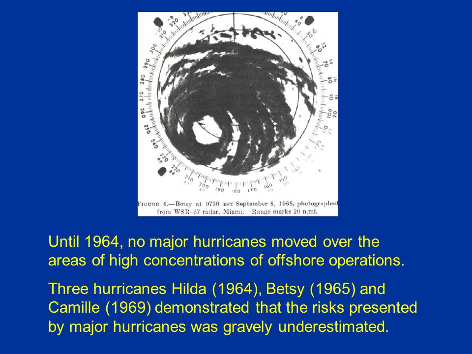 Until 1964, no major hurricanes moved over the areas of high concentrations of offshore operations.