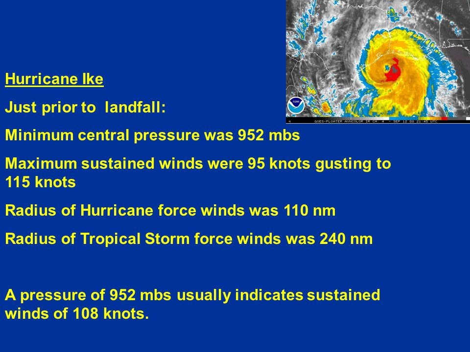 Hurricane Ike Just prior to landfall: Minimum central pressure was 952 mbs Maximum sustained winds were 95 knots gusting to 115 knots Radius of Hurricane force winds was 110 nm Radius of Tropical Storm force winds was 240 nm A pressure of 952 mbs usually indicates sustained winds of 108 knots.