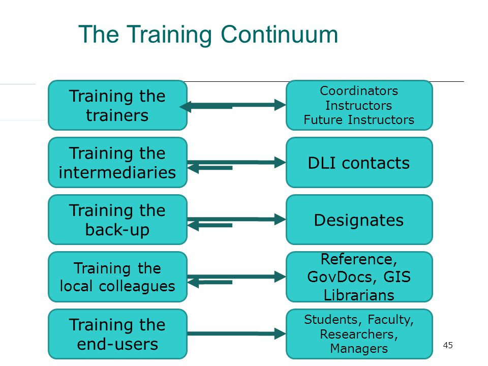 45 Training the trainers Training the intermediaries Training the back-up Training the local colleagues Training the end-users Coordinators Instructors Future Instructors DLI contacts Designates Reference, GovDocs, GIS Librarians Students, Faculty, Researchers, Managers The Training Continuum
