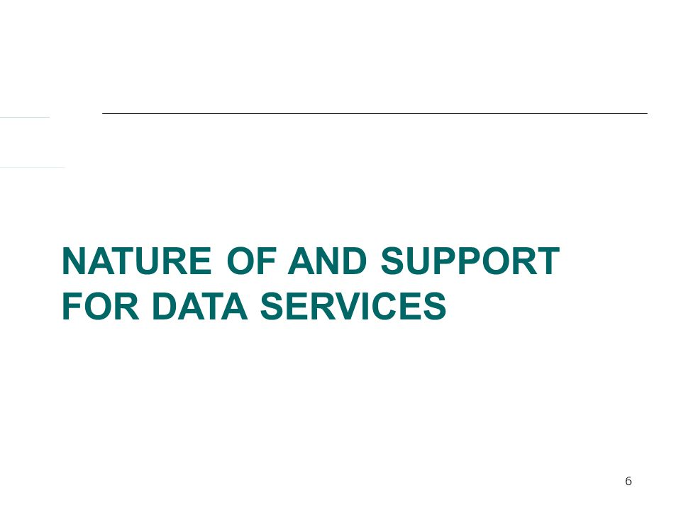 6 NATURE OF AND SUPPORT FOR DATA SERVICES