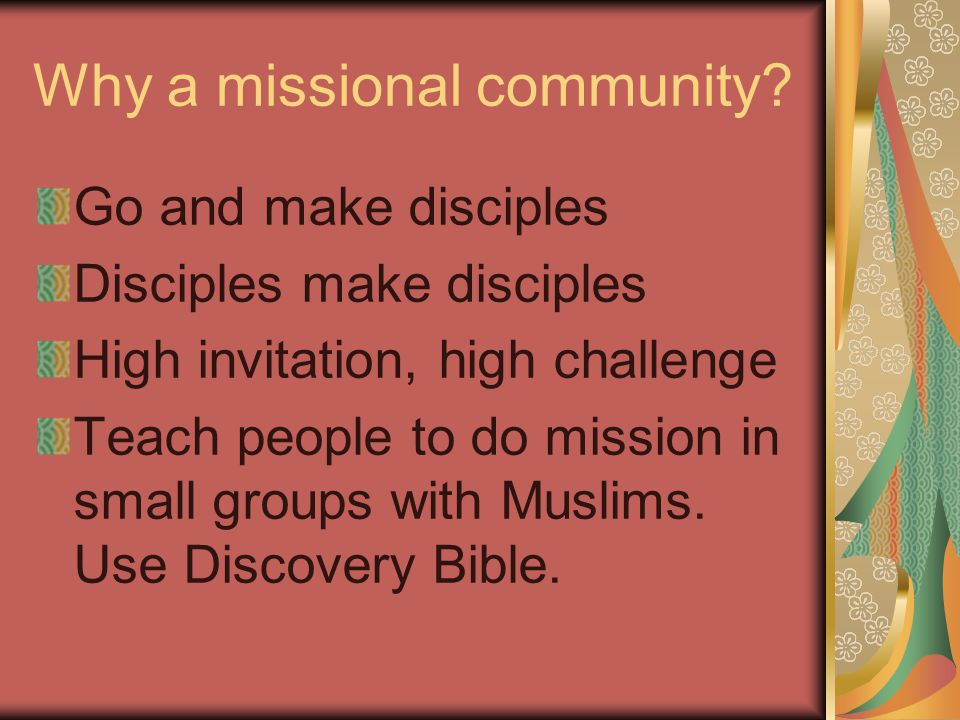 Why a missional community.