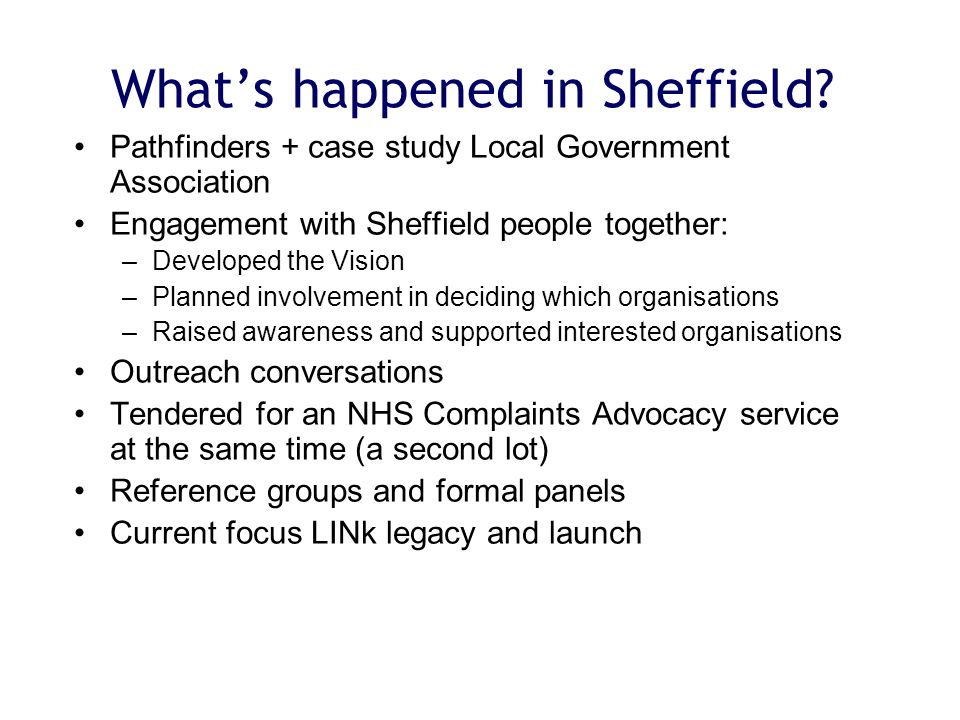 What's happened in Sheffield.