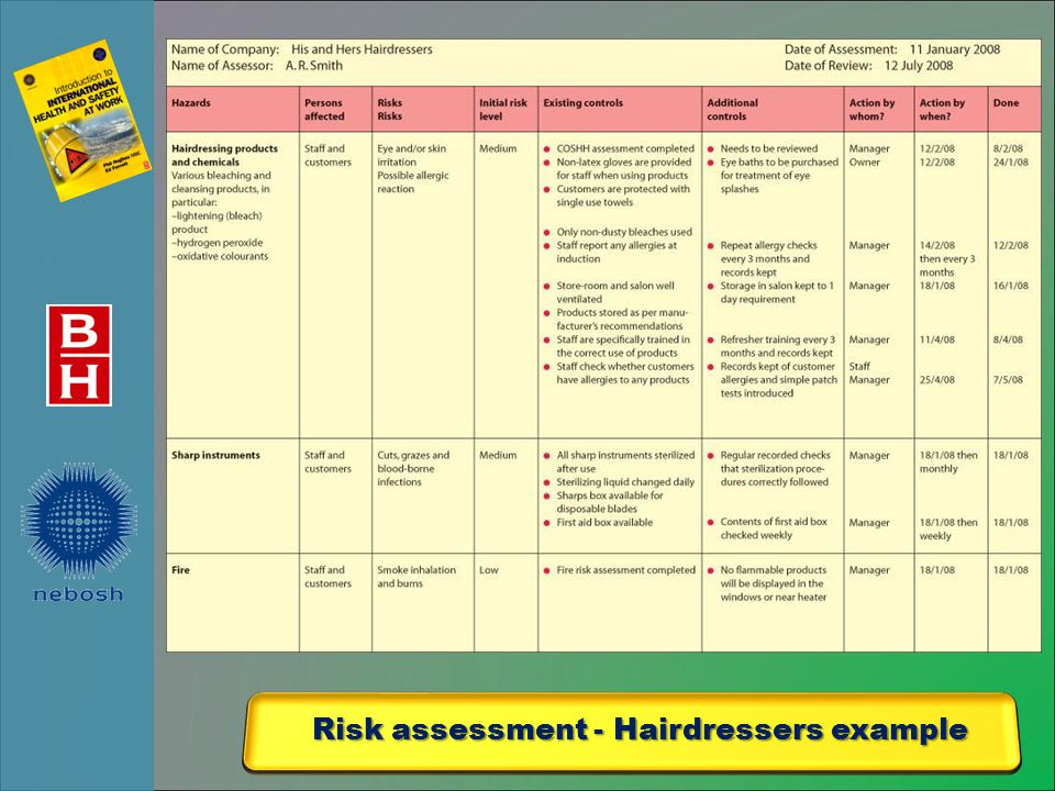 Risk assessment - Hairdressers example