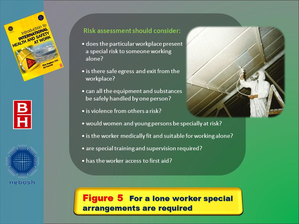 Figure 5 For a lone worker special arrangements are required Risk assessment should consider: does the particular workplace present a special risk to someone working alone.
